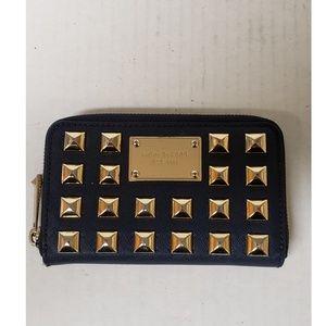 Michael Kors Blue Saffiano Gold Studded Wallet